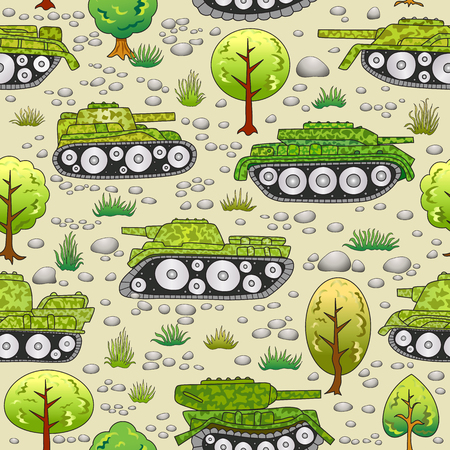 Cartoon tanks in summer forest seamless pattern.