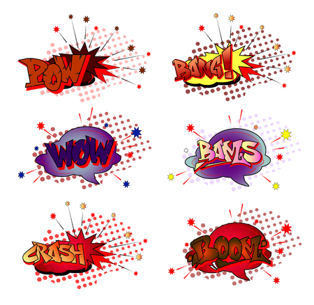 Cartoon pop art typography sound effect and expression elements includes crash, boom, pow, bang, wow, bams.