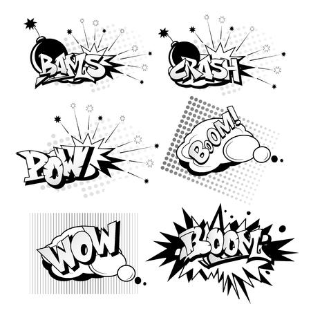 Cartoon pop art elements includes crash, boom, wow, bams, pow in black and white illustration. 矢量图像