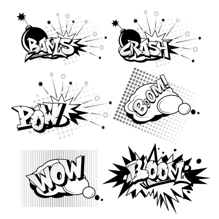 Cartoon pop art elements includes crash, boom, wow, bams, pow in black and white illustration. Illustration