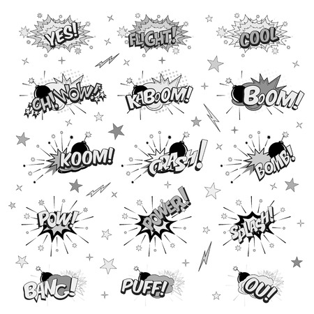 Cartoon pop art elements typography includes crash, boom, pow, bang, wow, bams, splash, power, bums, flight, bomb, yes, ok in black and white illustration.
