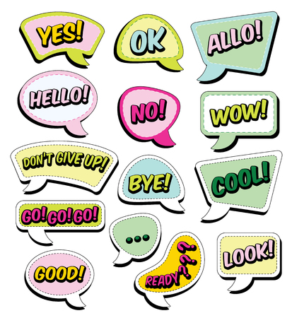 Color funny cartoon superhero elements: go, good, look, hello, wow, cool, allo, bye, ok, ready, yes, no, dont give up. Illustration
