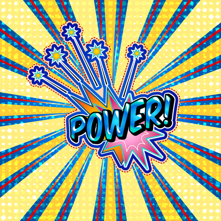 The word power is written in the original font on a bright, luminous background.