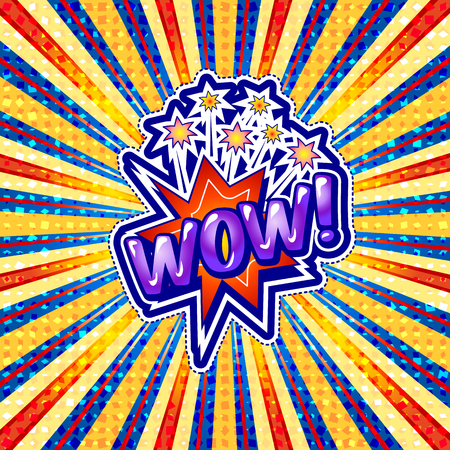 The word wow is written in the original font on a bright, luminous background. Illustration