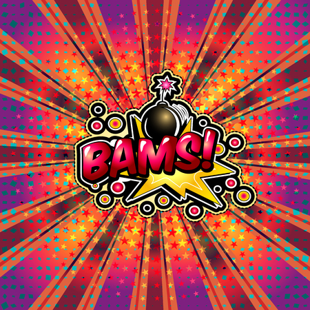 The word bams is written in the original font on a bright, luminous background. Illustration
