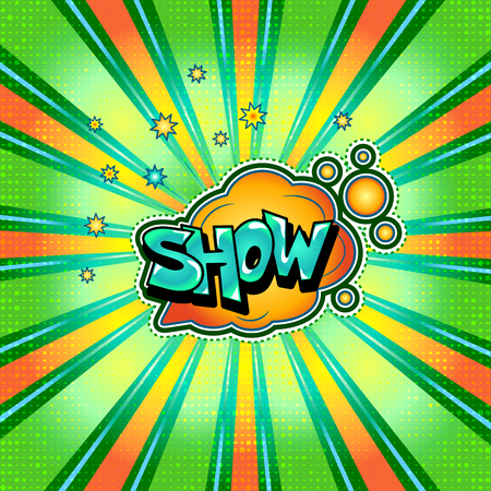 The word show is written in the original font on a bright, luminous background. Illustration