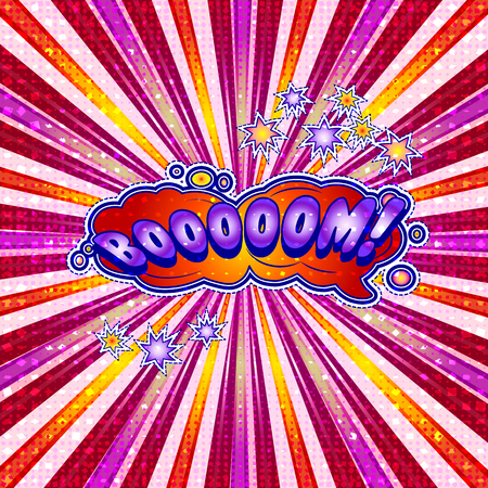 The word booooom is written in the original font on a bright, luminous background.