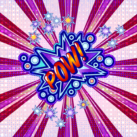 The word pow is written in the original font on a bright, luminous background.