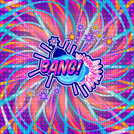 The word bang is written in the original font on a bright, luminous background. Illustration