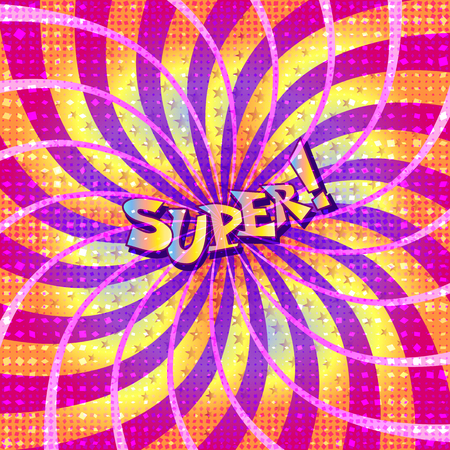 The word super is written in the original font on a bright, luminous background.
