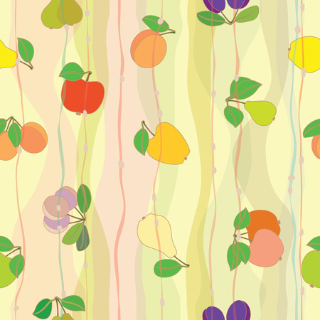 Geometric seamless pattern with fruits: apple; plum; pear; apricot; peach.