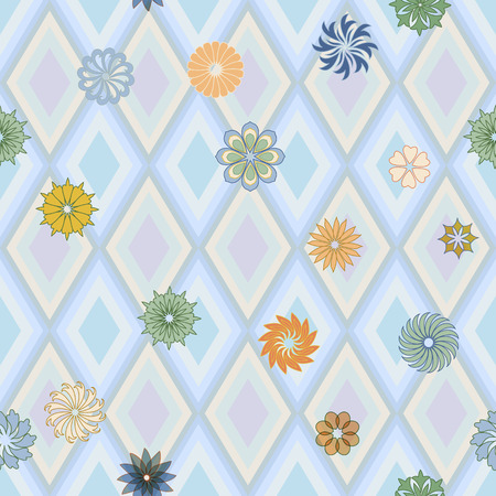 Geometric seamless pattern with flowers and rhombuses.