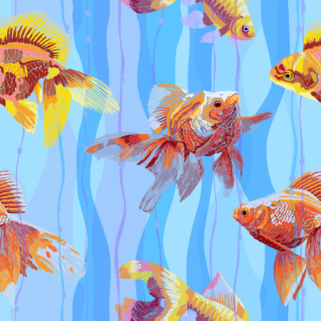Imitation of embroidery of Chinese goldfish on a wavy striped background seamless pattern.