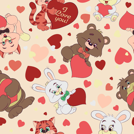 Cartoon merry striped kittens, bears and rabbits with hearts Valentine seamless pattern.
