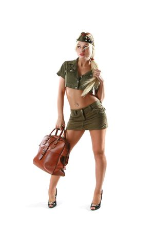 Beautiful woman in military clothes with bag