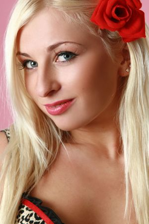 Portrait of a beautiful young blue eyed woman photo