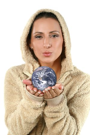 Pretty woman holding a globe in her hands Stock Photo - 6382870
