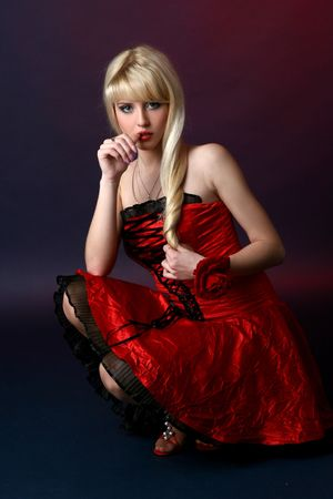 Beautiful young and sexy woman in red dress Stock Photo