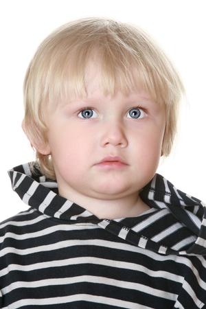 striped vest: Nice boy in a striped vest on white background