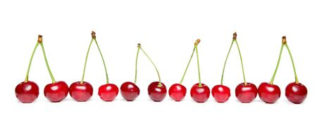 Red Cherry on white background, isolated