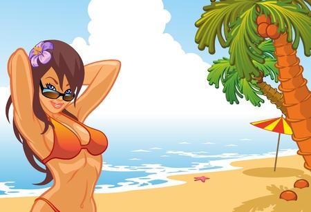 nude young: женщина на пляже