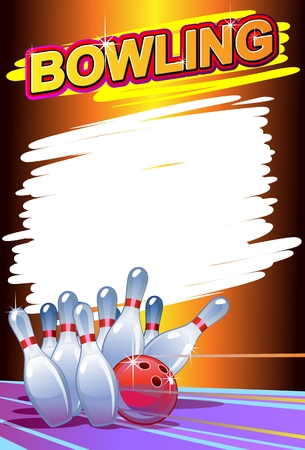 drawing pin: bowling poster Illustration