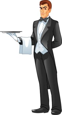 camarero: Camarero que sostiene una bandeja aislados sobre fondo blanco Vectores