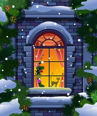 fenêtre et l'épinette d'hiver