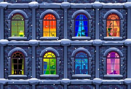winter night city with windows Stock Illustratie