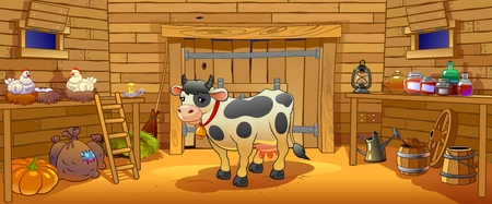 Cow shed on a farm Illustration