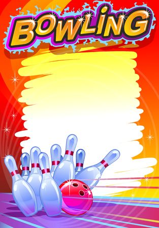 Bowling banner. Cartoon Ilustração