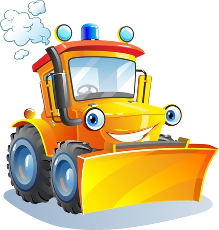 Cartoon. Grappige tractor, bulldozer.