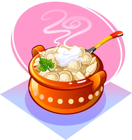 russian cuisine: Dumplings in a pot with sour cream. Vector Illustration