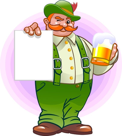 estereotipo: Alemán con un cartel y una cerveza Vectores