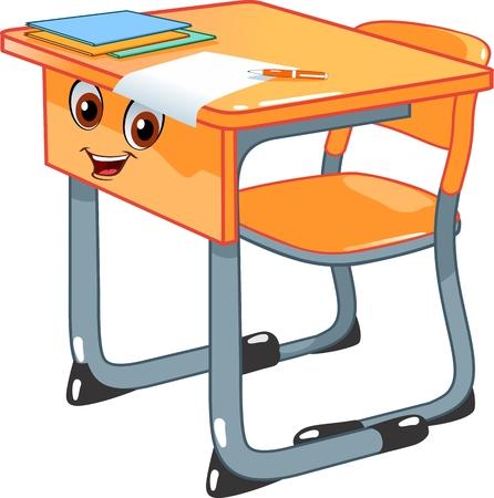 Schoolbank en een stoel Vector Illustratie