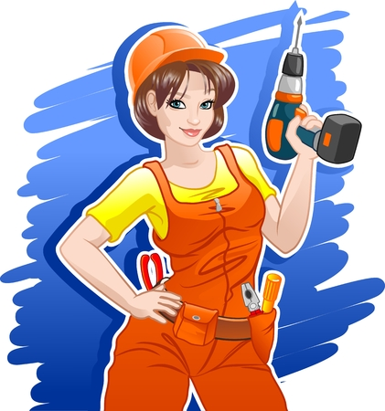 Beautiful girl in a helmet and belt with a drill Иллюстрация