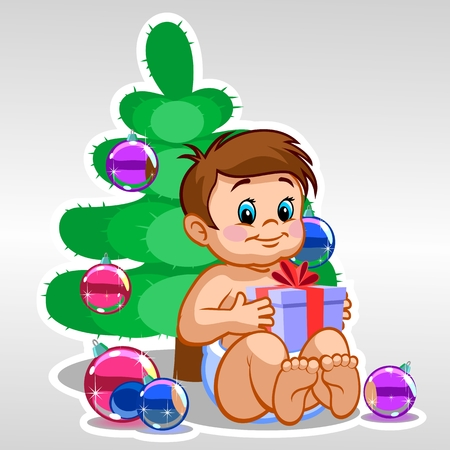 baby toy: Child with a gift
