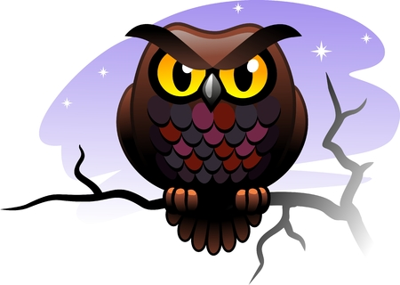 Owl sitting on a branch Illustration