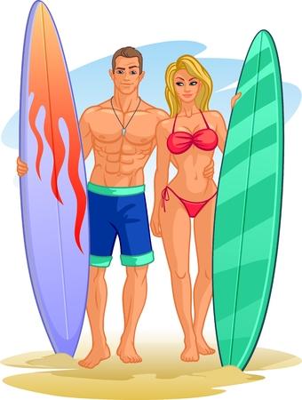 Pair of surfers with surfboards Ilustração