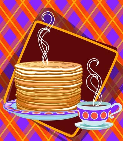 Poster. Vector label. Pancakes Standard-Bild - 102945457