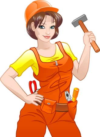 Pretty girl with helmet and belt of tools a over white background