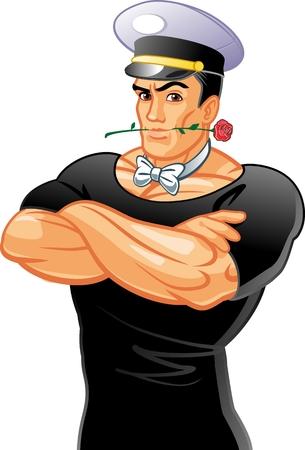 sexy man with a rose Standard-Bild - 102940127