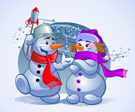 Lustige Schneemänner Standard-Bild - 91374212