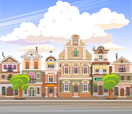 Vector cartoon retro illustration city houses facades landscape. Standard-Bild - 102940128