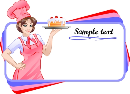 The girl in pink chef Illustration