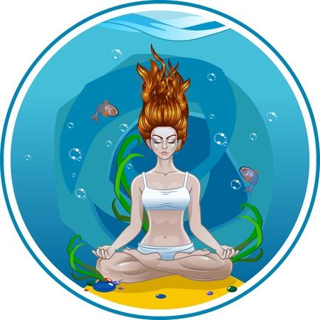 girl doing yoga Standard-Bild - 107949811