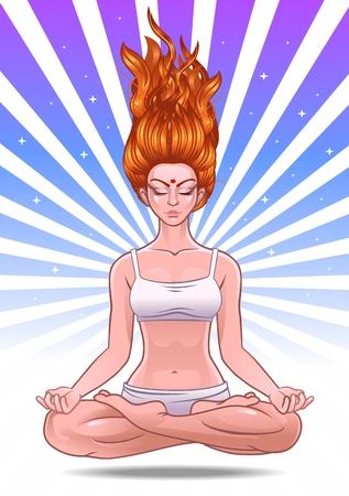 girl doing yoga Standard-Bild - 107949843