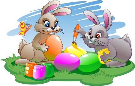 rabit: Easter bunnies paint eggs