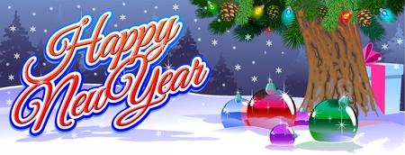 Festlicher Hintergrund mit Geschenken und Spielzeug unter Weihnachtsbaumasten. Standard-Bild - 90958931