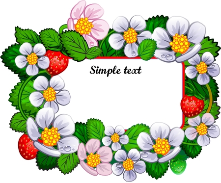 Floral Frame with Flowers and Strawberry Ilustração
